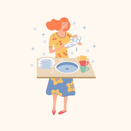 Homework. A cheerful girl in a colorful dress washes dishes. Vector illustration on a light background.