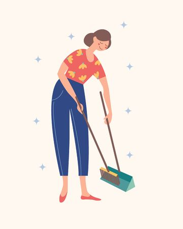 The girl sweeps the floor. Domestic work. Vector illustration on a light background.