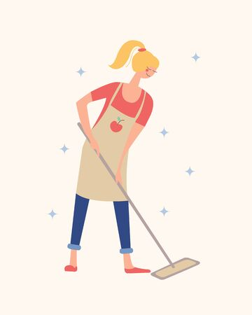 Girl mopping the floor with a MOP. Housework, house cleaning. Vector illustration on a light background.