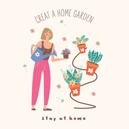 Stay at home. Create a home garden. Girl florist watering potted flowers. Vector illustration. Cute postcard on a light background. Stock Illustratie