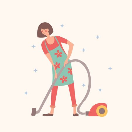 Girl vacuums. Housework, house cleaning. Vector illustration on a light background. Stock Illustratie
