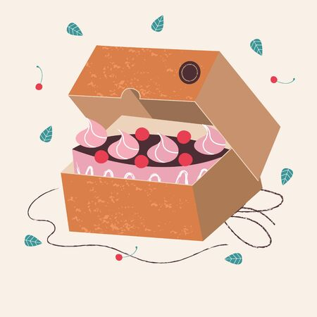 Kraft box with a cake. Vector illustration on a light background. Stock Illustratie