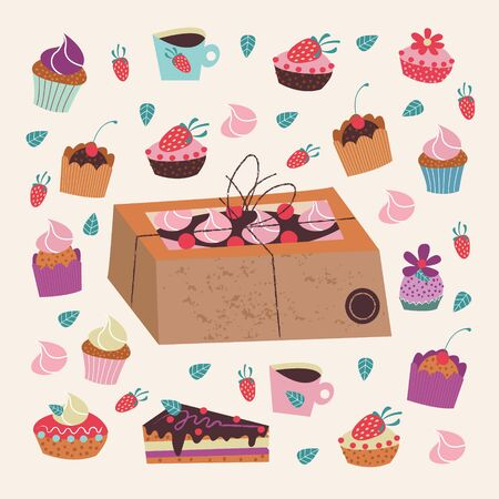 Kraft box with a cake. A large set of delicious and beautiful cakes. Vector illustration on a light background.