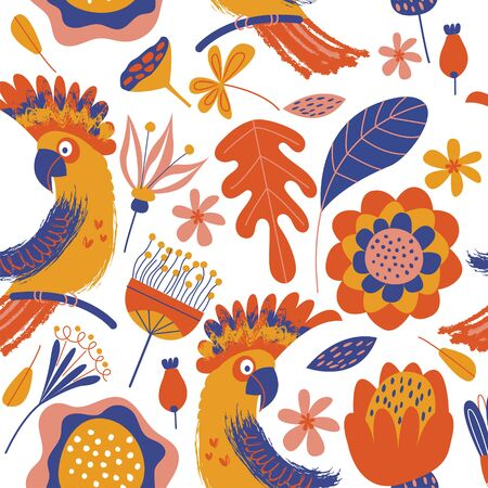 Exotic seamless pattern. Cockatoo parrots and bright tropical flowers on a white background. Vector illustration with unique hand drawn textures. Stock Illustratie