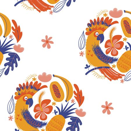 Exotic seamless pattern. Cockatoo parrots and bright tropical flowers and fruits. Vector illustration in a minimalistic style