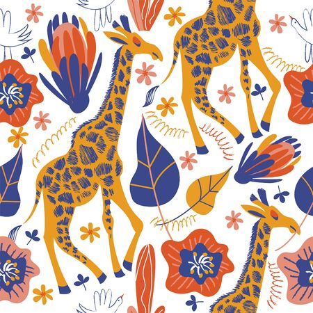 Colorful seamless pattern with giraffes, exotic flowers and leaves. Vector illustration on a white background.