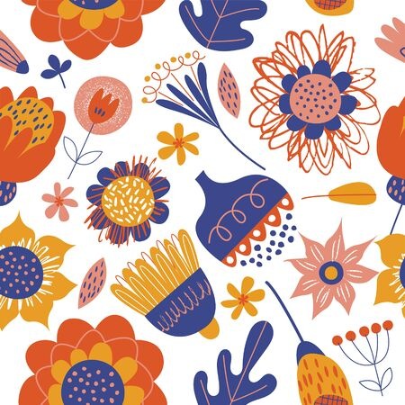 Seamless pattern with bright minimalistic flowers in Scandinavian style. Vector illustration on a white background. Stock Illustratie