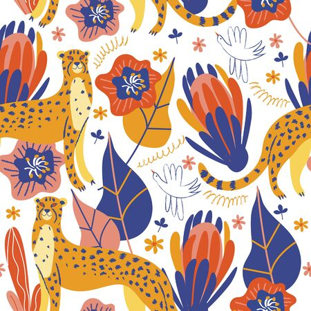Seamless pattern on a white background. Wild cheetahs in the jungle among colorful exotic flowers. Vector illustration.