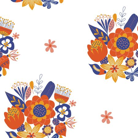 Seamless pattern with bright minimalistic bouquets of flowers in the Scandinavian style. Vector illustration on a white background.