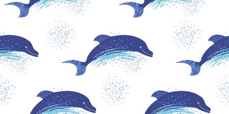 Seamless pattern on a white background. A flock of dolphins rushes through the waves. Vectores