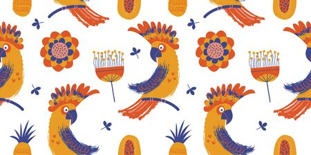 Seamless pattern. Colorful Cockatoo parrots among minimalistic flowers. Vector illustration on a white background.