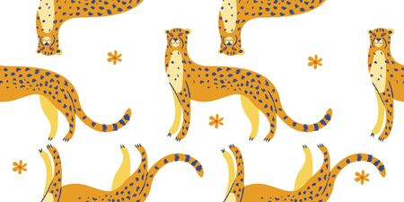 Seamless pattern. Cute spotted cheetahs on a white background. Vector illustration.