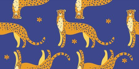 Seamless pattern. Cute spotted cheetahs on a blue background. Vector illustration. Stock Illustratie