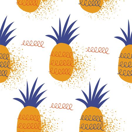 Seamless pattern on a white background. Exotic fruit. Bright pineapple. Minimalistic style.