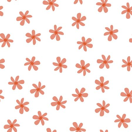 Seamless pattern on a white background. Small pink flowers. Delicate light pattern.