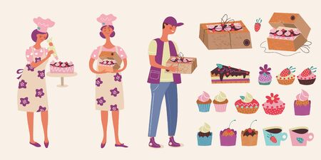 Confectionery. Cute female pastry chef decorates the cake. The courier holds a box with a cake. Vector illustration.