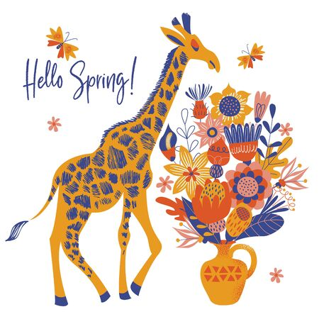 Hello spring. Ceramic vase with a bouquet of large multicolored flowers. Tall cute spotted giraffe. Vector illustration on a white background.