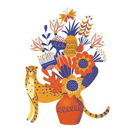 A cute spotted Cheetah hides behind a vase of colorful large flowers. Vector illustration on a white background.