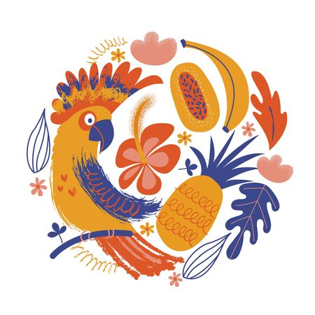 Colorful parrot among exotic flowers and fruits. Vector illustration of a round shape on a white background.