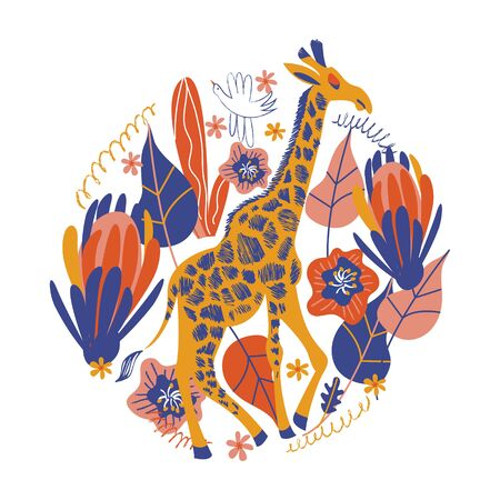 Tall giraffe among exotic flowers.Vector illustration of a round shape on a white background. Ilustração