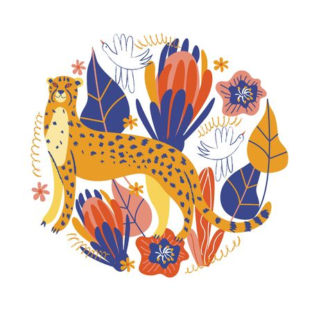 Cute Cheetah is among the exotic flowers.Vector illustration of a round shape on a white background.