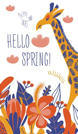 Giraffe and colorful bright flowers. Vector illustration in a flat style on a white background with space for text.
