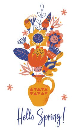 Hello spring. Yellow vase with a bouquet of large multicolored flowers. Vector illustration on a white background.