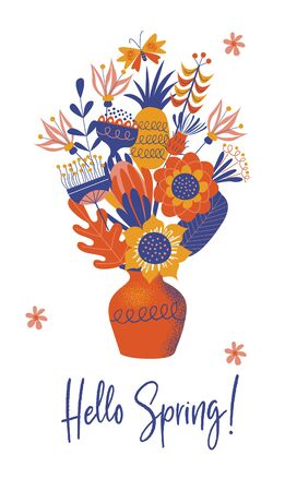 Hello spring. Ceramic vase with a bouquet of large multicolored flowers. Vector illustration  on a white background. Stock Illustratie