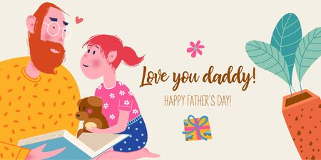 I love you, daddy. Vector greeting card, banner for father's day. Dad reads a book to his daughter.