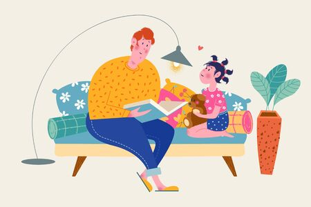 Happy father's day. Vector greeting card. Dad and daughter are sitting on the couch. Dad reads a book to his daughter. The girl is holding a toy bear.