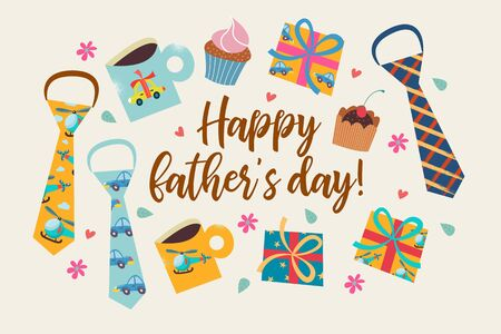 Happy father's day. Vector greeting card, banner, poster. A set of colorful items. Colorful ties, gift boxes, cakes, and mugs with pictures. Ilustração