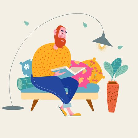 A man reads a book sitting on the sofa. Vector illustration. 向量圖像