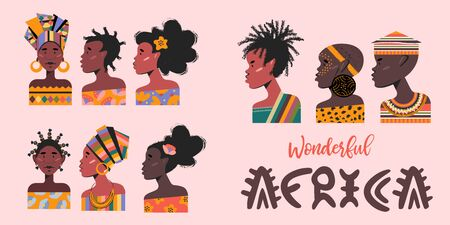 Wonderful Africa. A set of portraits of Africans, men and women. Vector illustration.
