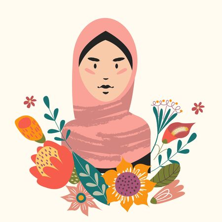 Female portrait with flowers. Beautiful Muslim girl in hijab. Vector illustration.
