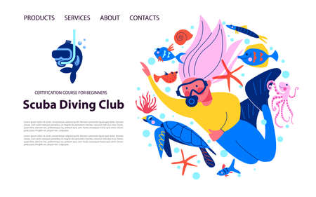 Diving, extreme sports. Girl diver among exotic marine life and tropical fish.