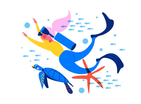 Diving, extreme sports. Girl diver among exotic marine life and tropical fish. Ilustrace
