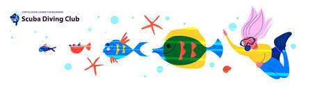 Diving, extreme sports. Girl diver among exotic marine life and tropical fish. 向量圖像