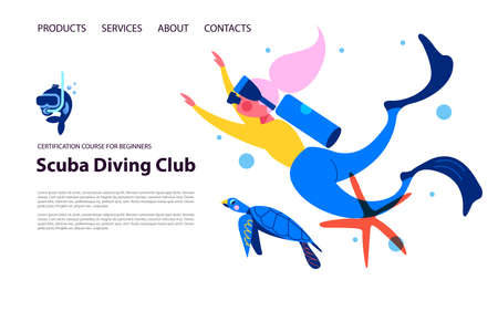 Diving, extreme sports. Girl diver among exotic marine life and turtle 向量圖像