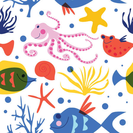 Exotic marine life and tropical fish.