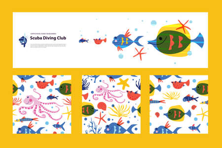 Diving, extreme sports  illustration, banner.