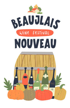 Autumn November festival of young wine in France Beaujolais Nouveau. Vector illustration with bottles of young wine, a wine barrel, bright orange pumpkins and autumn leaves.