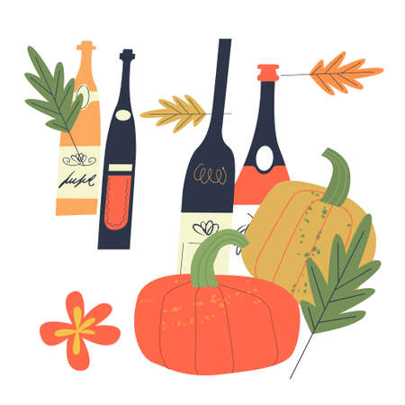 Vector illustration with bottles of young wine, bright orange pumpkins and autumn leaves. Elements of an illustration for the harvest festival or Beaujolais Nouveau.
