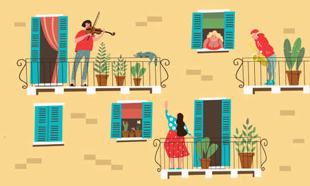 Stay at home. Neighbors play musical instruments standing on the balconies of their homes. Vector illustration. Concept of home classes during the quarantine period.