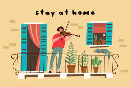 Stay at home. A girl plays the violin standing on the balcony of her house. Vector illustration. 向量圖像
