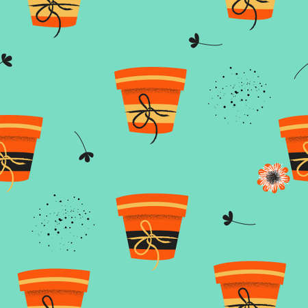 Seamless pattern on a blue background. Flower pots with seedlings. Vector illustration. Seasonal work in the garden. 向量圖像
