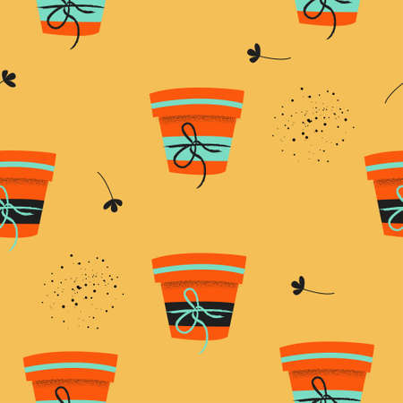 Seamless pattern on a yellow background. Flower pots with seedlings. Vector illustration. Seasonal work in the garden.