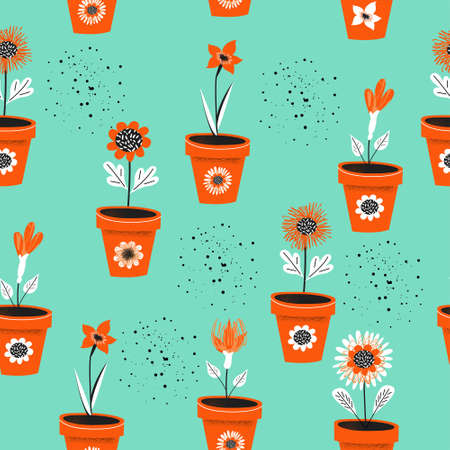 Seamless pattern on a blue background. Flower pots with seedlings. Vector illustration. Seasonal work in the garden. 版權商用圖片