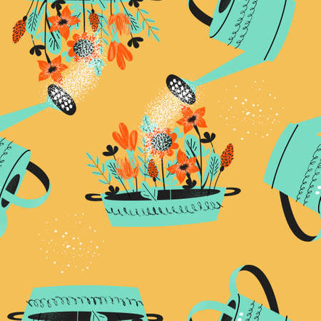 Seamless pattern on a yellow background. Flower seedlings are watered from a garden watering can. Vector illustration in a modern trend style.
