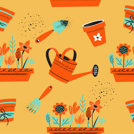 Seamless pattern on a yellow background. Tools for seasonal work in the garden. Vector illustration in trend style with hand drawn texture. Standard-Bild