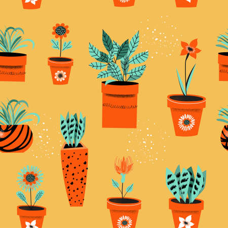 Seamless pattern on a yellow background. Flower pots with indoor flowers. Vector illustration. Standard-Bild